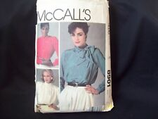 Liz Claiborne McCall's Pattern 8901 Pussy Bow Blouse Stand Up Collar Size 8