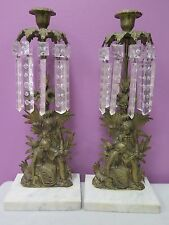 Pair of brass girandoles with cut crystal prisms marble bases Male Female Palms
