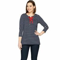 Susan Graver Size 1X Black/White Weekend Striped Cotton Modal Top with Lacing