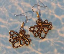 Octopus Earrings Antiqued Brass Pirates Sea Creature Ocean