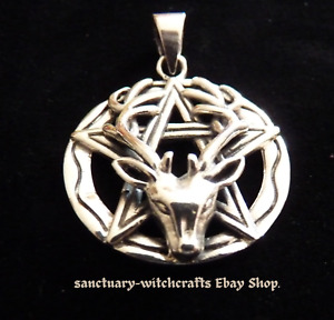 Solid Sterling Silver Stag & Pentagram Pendant. Pagan/Wiccan.