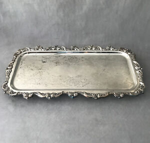 PV05347 Vintage Poole Silverplate OLD ENGLISH #5031 Footed Cocktail Tray