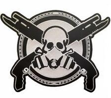 "Zombie Apocalypse Gas Mask Skull & Guns Shield Giant XL Back Patch 11.7""/29cm"