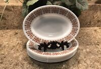"""6 Vintage Pyrex Tableware by Corning """"Copper Filigree"""" Oval Plate Dishes 794-10"""