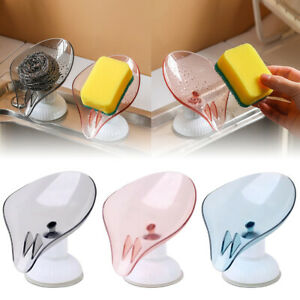 Leaf Shape Punch-free Soap Box Drain Soap Holder Rack Suction Cup Rotatable WS