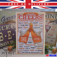 How to say CHEERS around the WORLD 20x30cm Metal Sign Tin Decor Wall Plaque Home