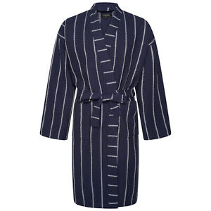 Cotton Trend Mens Navy Blue Stripe Waffle Dressing Gown 100% Turkish Cotton