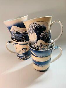 4pcs Fine China The Great Kanagawa Wave Coffee Mugs Hokusai Ukiyo-e Japanese Art