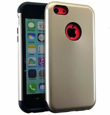For iPhone 5 / 5S / 5C - HARD TPU GUMMY RUBBER HYBRID SKIN CASE GOLD BLACK ARMOR
