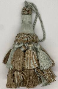 """4&1/2"""" Mint Camel Tied Key Tassel Fabric Trim  Lot Of 2"""