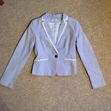 H&M Seersucker Blue White Summer Blazer Suit Jacket UK8