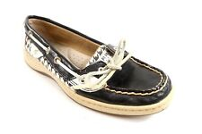 Sperry Top-Sider Womens 6M Black Silver Tan Brown Leather Boat Shoes
