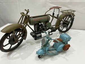 COLLECTABLE Metal Motorcycles -1 Vespa x 1 Antique Style Motorbike