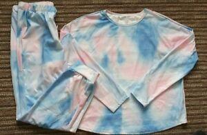 Size UK 16-18 Womens Tie Dye Lounge Suit - Pyjamas - Jogging suit. Pink & blue