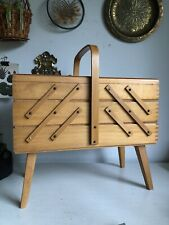 Vintage Wooden Cantilever Folding 3 Tier Sewing Craft Box With Legs + Handle