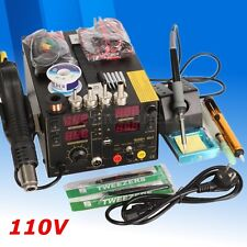 AC 110V 909D+ 3 In 1 Rework Soldering Iron Station USB Welder Hot Air Heat Gun