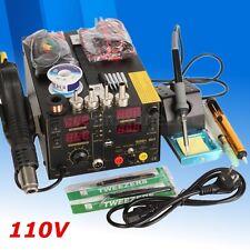 AC 110V 909D+ 3 In 1 Rework Soldering Iron Station USB Welder Hot Air Heat Gun