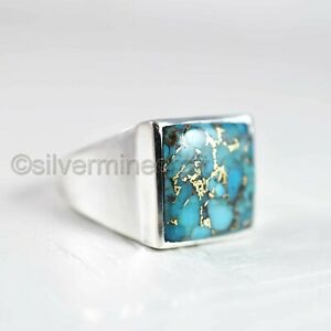 BLUE COPPER TURQUOISE 925 STERLING SILVER ANNIVERSARY GIFT MEN'S SIGNET RING