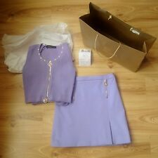 NEW BNWT SS15 VERSACE COLLECTION LILAC PASTEL DESIGNER MIDI SKIRT UK 8 RRP £490