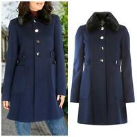 Womens Ladies Plus Size Smart Navy Blue Coat Fur Collar ex Dorothy Perkins