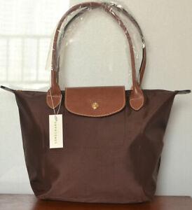 Womens Brown New Longchamp Le Pliage Nylon Tote Handbag Shoulder Bag Size Large