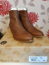 RED OR DEAD OKLAHOMA TAN BROWN COWBOY ANKLE BOOTS  UK 5