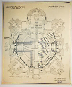 Architekten Mappe Baupläne Zeichnungen Frauenkirche Dresden 1934-1940er Rarität
