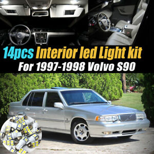 14Pc Super White Car Interior LED Light Bulb Kit Pack for 1997-1998 Volvo S90
