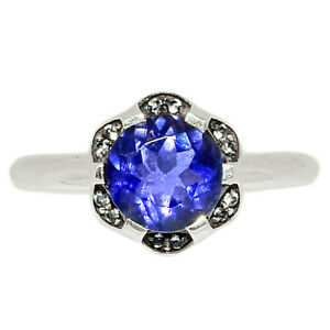 Iolite - India & White Topaz 925 Sterling Silver Ring Jewelry s.8 BR58009
