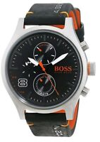 Hugo Boss 1550020 Mens Amsterdam Black Leather Strap S/Steel Case Analogue Watch
