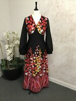 Vintage Dielen Black, Red & Yellow Floral Maxi Dress Size 42''