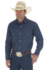 Wrangler Cowboy Cut Work Western Rigid Denim Long Sleeve Shirt Size 18 X 35