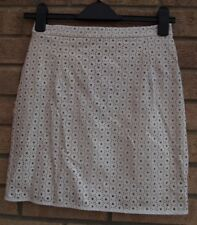 RIVER ISLAND WHITE SPOTTY CUT OUT FLORAL FAUX LEATHER BODYCON PARTY SKIRT 8 S