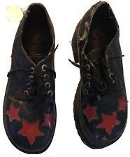 Vintage 1960s Platform Shoes Size 8.5 Black Red Stars Rubber Sole