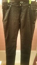TRIPP NYC BLACK ANIMAL PRINT SKINNY STRETCH JEANS-WOMENS SZ 15