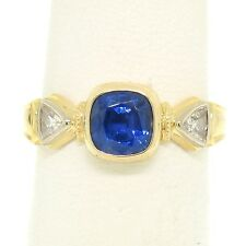 18K Yellow Gold 1.53ctw Cushion Cut GIA Sapphire & Trillion Diamond 3 Stone Ring