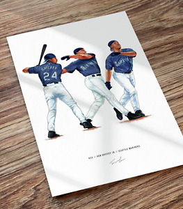Ken Griffey Jr Seattle Mariners Illustrated Baseball Print Poster Motion Art