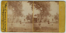 RARE Stereoview Photo - Croquet Grounds - Liverpool NY 1876