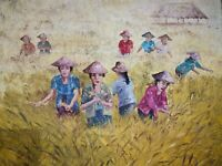 a Piece of Bali Farmers Harvesting Rice Fields Ubud Fine Art Painting Wall Art