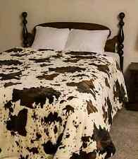 Queen Sz Western RODEO COW Faux Mink Blanket Animal Print Nature Throw NEW 79x96