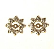 14k yellow gold .95ct SI2 I round diamond stud earring jackets 1.3g womens