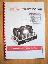 McIntosh 240 Amplifier  Bedienungsanleitung Owner Manual + Circuit Diagram