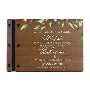 Custom Memorial Funeral Guest Book for Loss of Loved One 12x8 - When Tomorrow
