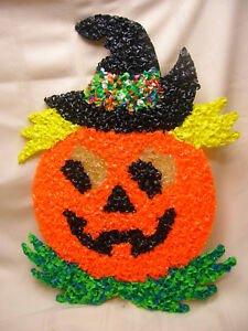 "Vintage Popcorn Plastic Halloween Decoration Jack-O-Lantern 12 1/2"" X 17"""