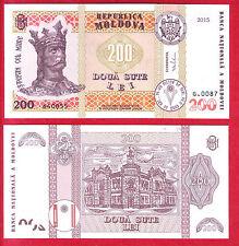R* MOLDOVA 200 LEI 2015 UNC CRISP NEW TYPE