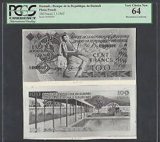Burundi Face & Back 100 Francs 1-1-1967 Photograph Proof Uncirculated