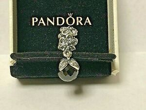AUTHENTIC PANDORA STERLING SILVER BEAD GARDEN ODYSSEY BLACK SPINEL DANGLE 790858
