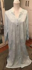 Vintage Miss Elaine Long Robe, Light Blue, Subtle Fabric Pattern, Embroidery