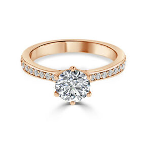 1.30 Ct Moissanite Round Cut Rose Gold Proposal Ring 14K Solitaire Girl ring