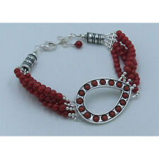 5 Strand 925 Sterling Silver Natural Red Italian Coral Beaded Teardrop Bracelet